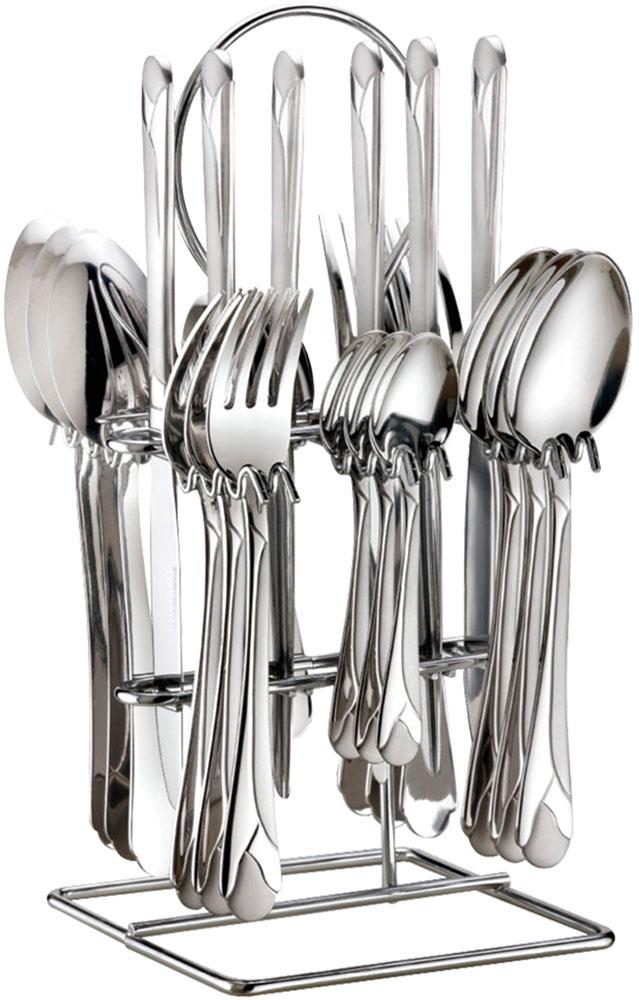 Набор столовых приборов Bohmann, на подставке, 25 предметов. 5625BH/NEW5625BH/NEWНабор столовых приборов из нержавеющей стали на подставке. 25 предметов. Состав: 6 штук столовых ложек; 6 штук вилок; 6 штук ножей; 6 штук чайных ложек; металлическая подставка - 1 шт.