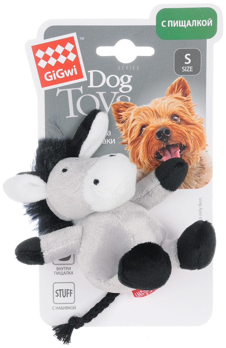 Игрушка для собак GiGwi Ослик, с пищалкой, длина 11 см0120710Игрушка для собак GiGwi Ослик с набивкой выполнена из плотного текстиля. Игрушка подходит для активной игры. Нетоксичный материал не ранит зубы. Игрушка оснащена пищалкой.