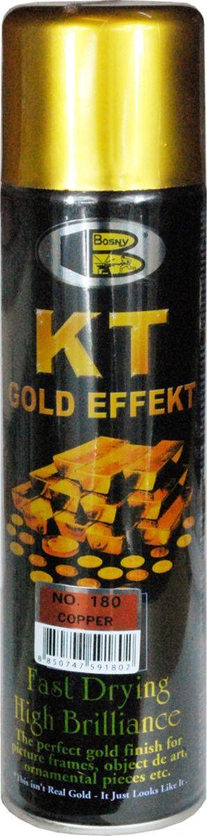 Аэрозольная краска Bosny 18 Карат, цвет: 180 медный, 300 мл180Золотая краска (аэрозольная) со специальным золотым пигментом повышенной яркости и стойкости. Специальный пигмент, в составе позволяет любым поверхностям, покрытым краской – деревянным, пластиковым или металлическим, приобретать ярко-выраженный эффект настоящего золота или меди. Цвета Медный, Золото, Золотая ветвь и Золотая искра рекомендованы к использованию при производстве наружных работ. Они очень стойкие к атмосферным явлениям – дождю, снегу, морозу или солнцепеку. Не истираются и имеют достаточно продолжительный срок службы. Золотая краска этой марки является прекрасным средством для декорирования деревянных, металлических, гипсовых или пластиковых поверхностей внутри квартиры, имеют слабовыраженный запах и прекрасные художественно-эстетические свойства. Она распределяется очень ровным слоем, быстро сохнет и имеет очень красивый оттенок. Аэрозольной краской Золото № 181 и 182 можно покрывать рамы картин, ножки кресел и стульев, придавая им цвет античного золота,...
