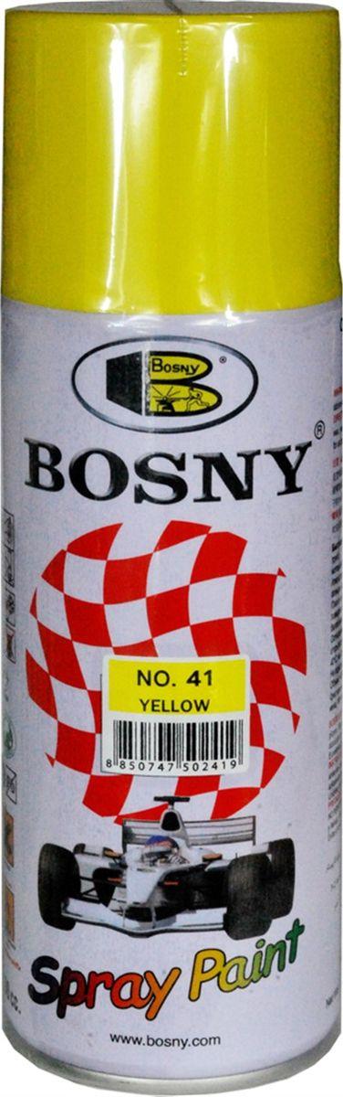 Аэрозольная краска Bosny, цвет: 41 желтый ral 1018, 400 мл41Предназначается для высококачественного окрашивания поверхностей, сделанных из дерева, металла и пластика. Идеальна для окрашивания автомобилей, мотоциклов, различного оборудования, приборов, мебели и прочего. Имеет широчайшую палитру цветов и форм. Такая краска не желтеет и не выцветает, то есть является атмосферостойкой. Акриловые краски могут быть использованы как для полного окрашивания, так и для подкрашивания.Прекрасно подходят не только для транспортных средств, но и для любого другого оборудования, такого как кухонное, например. Они могут успешно использованы для декорирования различных деталей интерьера и разных поверхностей не только в быту, но и в офисе или магазине. Аэрозольная краска на акрилово-эпоксидной основе является наиболее экономичным вариантом. Являются универсальными — они годятся как для наружных, так и для внутренних работ, устойчивы к неблагоприятным атмосферным явлениям, не выцветают и не желтеют со временем. Такие краски благодаря своим уникальным...