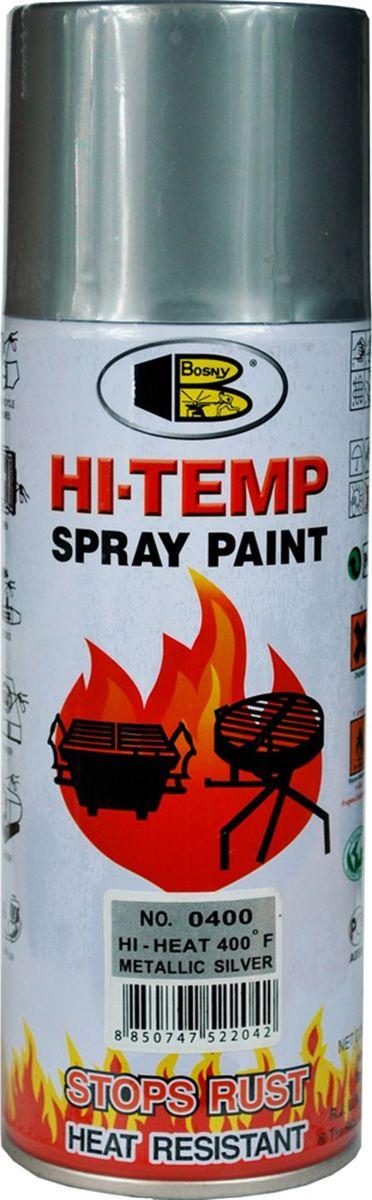 Аэрозольная краска Bosny, до 205°С, цвет: o400 серебряный металлик, 400 млO400Термостойкая краска производится из специальной смолы. Термостойкая краска выдерживает нагрев до 205 С. Не расслаивается и не отстает при воздействии высокой температуры. Для любителей делать ремонт быстро и оперативно термостойкая краска станет настоящей палочкой - выручалочкой, так как она содержит в своем составе быстросохнущие компоненты, которые позволяют выполнять все работы по покраске в кратчайшие сроки. В качестве защитного механизма у термостойкой краски включены в состав компоненты из микрочастиц закаленного стекла, которые позволяют обеспечивать необходимый барьер для влаги. Краска станет идеальным средством для работы на площадях, где есть резкий контраст температур. Она будет идеальна для покраски труб тепловых сетей, а также для использования на заводах и котельных, где оборудование и технические коммуникации испытывают большое температурное воздействие. Примечательно и то, что она может быть нанесена даже на ржавую поверхность, если есть необходимость сохранить участок...