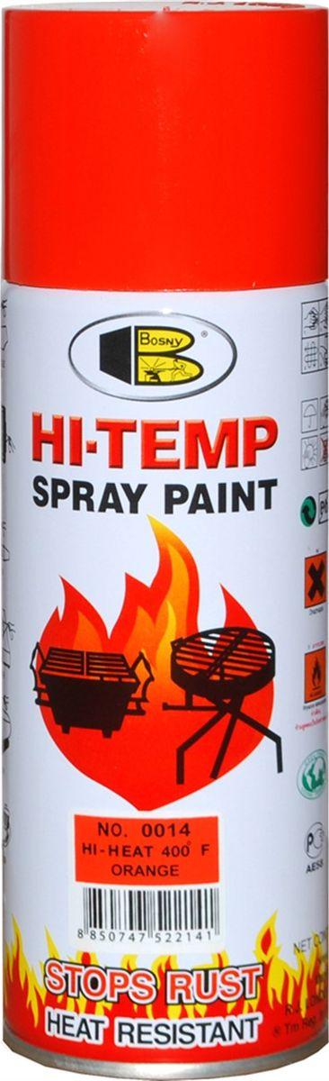 Аэрозольная краска Bosny, до 205°С, цвет: 0014 оранжевый, 400 млOO14Термостойкая краска производится из специальной смолы. Термостойкая краска выдерживает нагрев до 205 С. Не расслаивается и не отстает при воздействии высокой температуры. Для любителей делать ремонт быстро и оперативно термостойкая краска станет настоящей палочкой - выручалочкой, так как она содержит в своем составе быстросохнущие компоненты, которые позволяют выполнять все работы по покраске в кратчайшие сроки. В качестве защитного механизма у термостойкой краски включены в состав компоненты из микрочастиц закаленного стекла, которые позволяют обеспечивать необходимый барьер для влаги. Краска станет идеальным средством для работы на площадях, где есть резкий контраст температур. Она будет идеальна для покраски труб тепловых сетей, а также для использования на заводах и котельных, где оборудование и технические коммуникации испытывают большое температурное воздействие. Примечательно и то, что она может быть нанесена даже на ржавую поверхность, если есть необходимость сохранить участок...