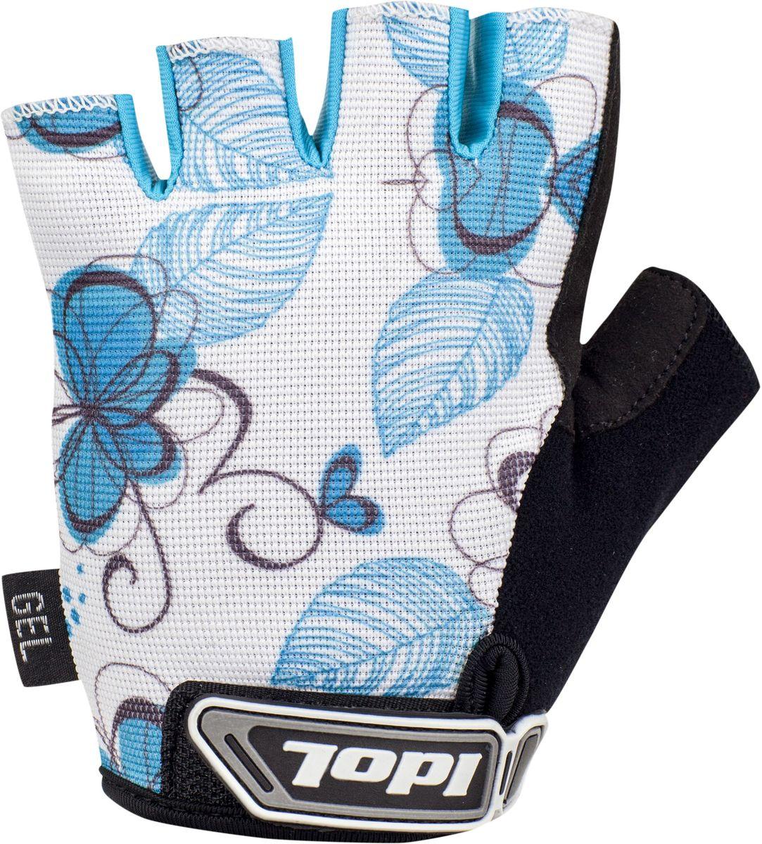 Перчатки велосипедные женские Idol Isel, цвет: белый, голубой. Размер S2716Велосипедные перчатки женские Idol, ISEL 2716 предназначены для велоспорта, велотуризма, велосипедных прогулок. - Открытые пальцы - Верх: высококачественный материал 4-way stretch повышенной дышимости - Ладонь: синтетическая кожа Amara - Гелевая вставка на ладони - Влагоотводящий материал на большом пальце - Веревочные петли для снимания - Липучка для фиксации перчатки на руке Высокое качество материалов, стильный дизайн, функциональность и прочность выделяют велоперчатки Idol среди прочих.