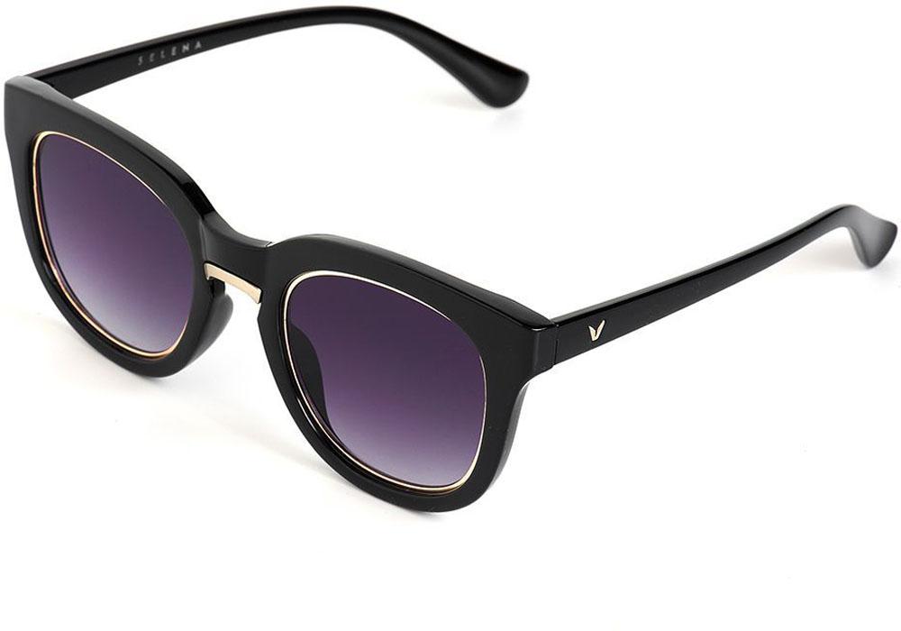 Очки солнцезащитные женские Selena, цвет: черный. 80035561BM8434-58AEСолнцезащитные женские очки Selena выполнены из качественного материала. Линзы очков обеспечивают 100% защиту от ультрафиолетовых лучей.Такие очки защитят глаза от ультрафиолетовых лучей, подчеркнут вашу индивидуальность и сделают ваш образ завершенным.Размер (ширина линзы*ширина моста-длина дужки) 56*20-145.