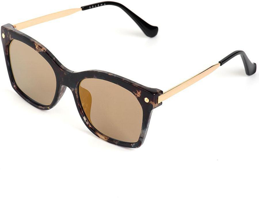 Очки солнцезащитные женские Selena, цвет: золотистый, коричневый. 8003570180035701Солнцезащитные женские очки Selena выполнены из качественного материала. Линзы очков обеспечивают 100% защиту от ультрафиолетовых лучей. Такие очки защитят глаза от ультрафиолетовых лучей, подчеркнут вашу индивидуальность и сделают ваш образ завершенным. Размер (ширина линзы*ширина моста-длина дужки) 56*20-152.