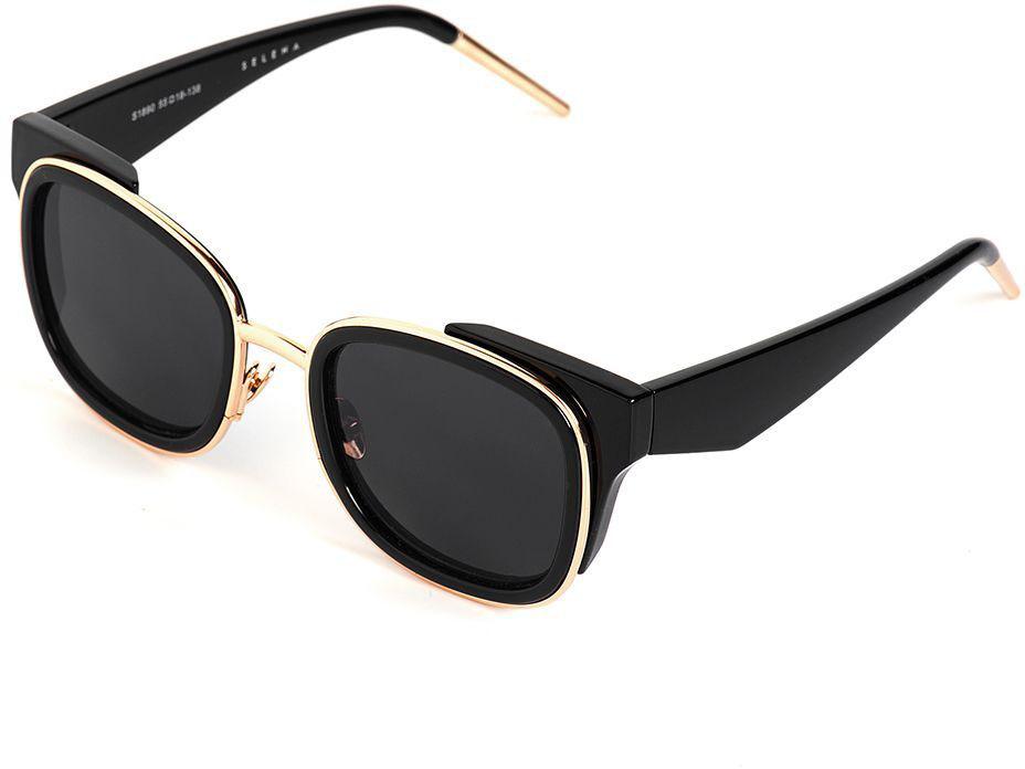 Очки солнцезащитные женские Selena, цвет: черный. 80036421TL-49-TPСолнцезащитные женские очки Selena выполнены из качественного материала. Линзы очков обеспечивают 100% защиту от ультрафиолетовых лучей.Такие очки защитят глаза от ультрафиолетовых лучей, подчеркнут вашу индивидуальность и сделают ваш образ завершенным.Размер (ширина линзы*ширина моста-длина дужки) 55*18-138.