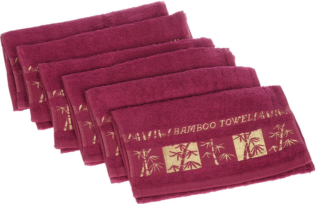 Набор полотенец Brielle Bamboo Gold, цвет: бургунди, 30 х 50 см, 6 шт1211Набор Brielle Bamboo Gold состоит из шести полотенец, выполненных на 70% из бамбука и на 30% из хлопка. Изделия отлично впитывают влагу, быстро сохнут, сохраняют яркость цвета и не теряют формы даже после многократных стирок. Полотенца Brielle Bamboo Gold очень практичны и неприхотливы в уходе. Такой набор послужит приятным подарком.
