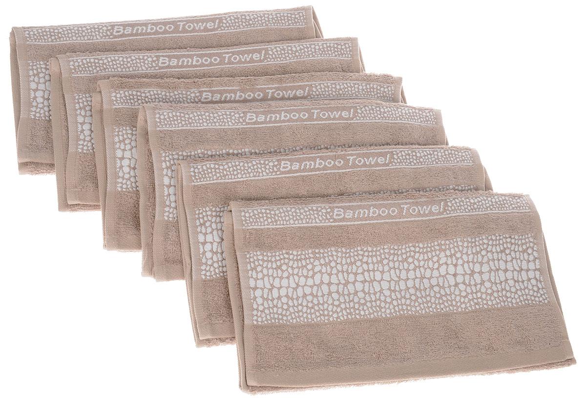 Набор полотенец Brielle Bamboo. Crocodile, цвет: мокко, 30 х 50 см, 6 штS03301004Набор Brielle Bamboo. Crocodile состоит из шести полотенец, выполненных из бамбука с содержанием хлопка. Изделия очень мягкие, они отлично впитывают влагу, быстро сохнут, сохраняют яркость цвета и не теряют формы даже после многократных стирок. Одна из боковых сторон оформлена принтом под крокодила и надписью. Полотенца Brielle Bamboo. Crocodile очень практичны и неприхотливы в уходе. Такой набор послужит приятным подарком.