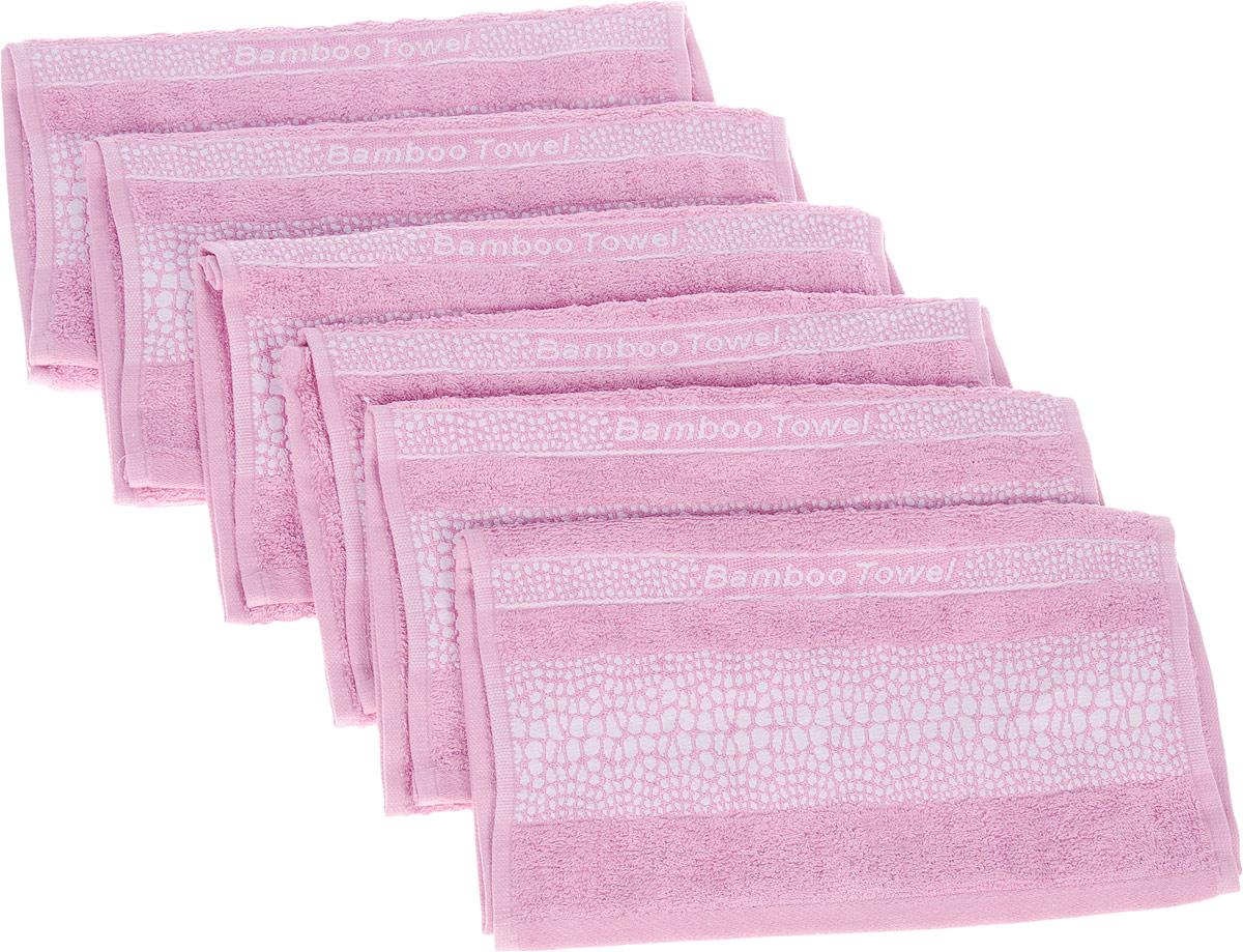 Набор полотенец Brielle Bamboo. Crocodile, цвет: розовый, 30 х 50 см, 6 шт1211Набор Brielle Bamboo. Crocodile состоит из шести полотенец, выполненных из бамбука с содержанием хлопка. Изделия очень мягкие, они отлично впитывают влагу, быстро сохнут, сохраняют яркость цвета и не теряют формы даже после многократных стирок. Одна из боковых сторон оформлена принтом под крокодила и надписью. Полотенца Brielle Bamboo. Crocodile очень практичны и неприхотливы в уходе. Такой набор послужит приятным подарком.