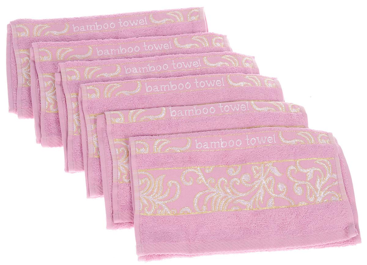 Набор полотенец Brielle Bamboo. Jacquard, цвет: розовый, 30 х 50 см, 6 шт1211выполненных из бамбука с содержанием хлопка. Изделия очень мягкие, они отлично впитывают влагу, быстро сохнут, сохраняют яркость цвета и не теряют формы даже после многократных стирок. Одна из боковых сторон оформлена оригинальным узором и надписью. Полотенца Brielle Bamboo. Jacquard очень практичны и неприхотливы в уходе. Такой набор послужит приятным подарком.