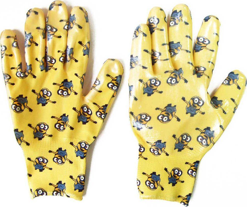 Перчатки садовые Garden Show Миньоны, нейлоновые, с нитриловым покрытием. Размер S (8) garden show