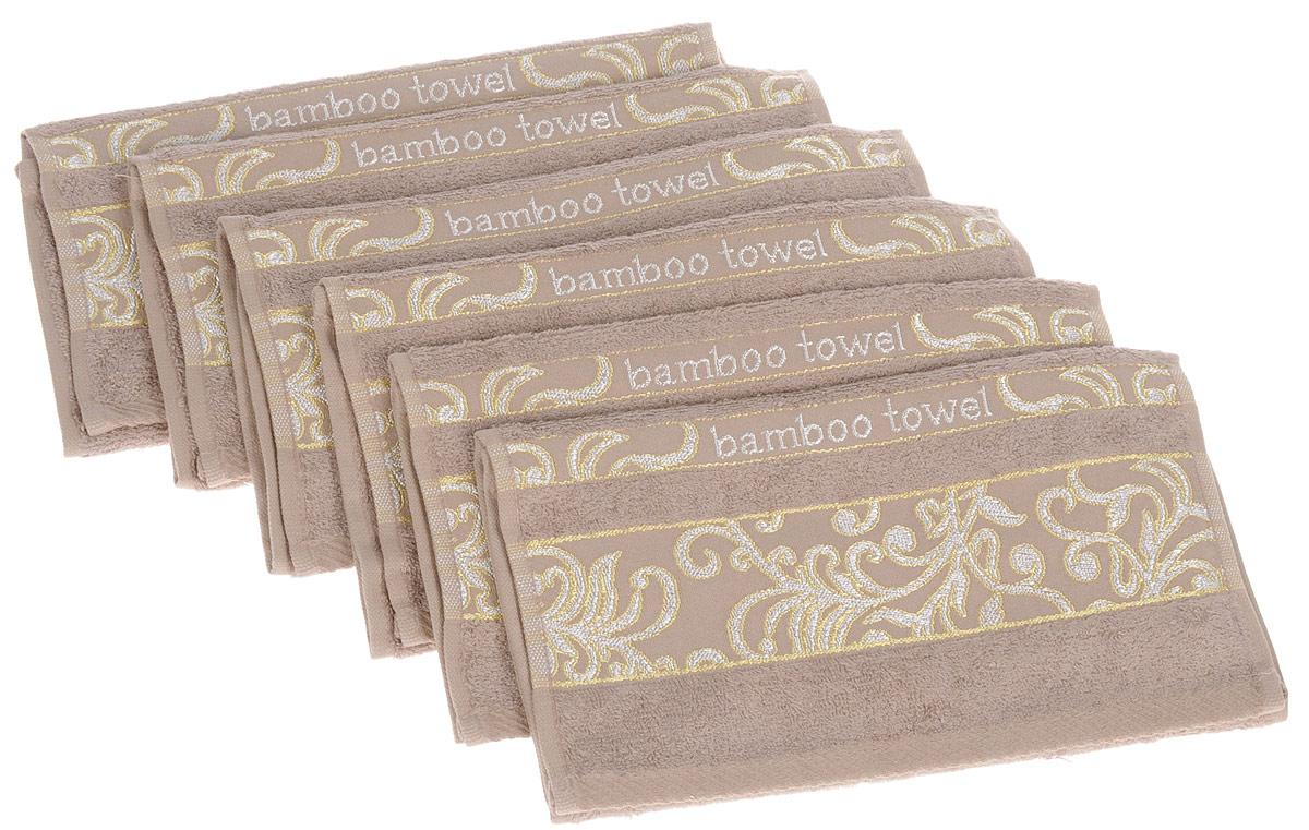 Набор полотенец Brielle Bamboo. Jacquard, цвет: мокко, 30 х 50 см, 6 шт1211выполненных из бамбука с содержанием хлопка. Изделия очень мягкие, они отлично впитывают влагу, быстро сохнут, сохраняют яркость цвета и не теряют формы даже после многократных стирок. Одна из боковых сторон оформлена оригинальным узором и надписью. Полотенца Brielle Bamboo. Jacquard очень практичны и неприхотливы в уходе. Такой набор послужит приятным подарком.