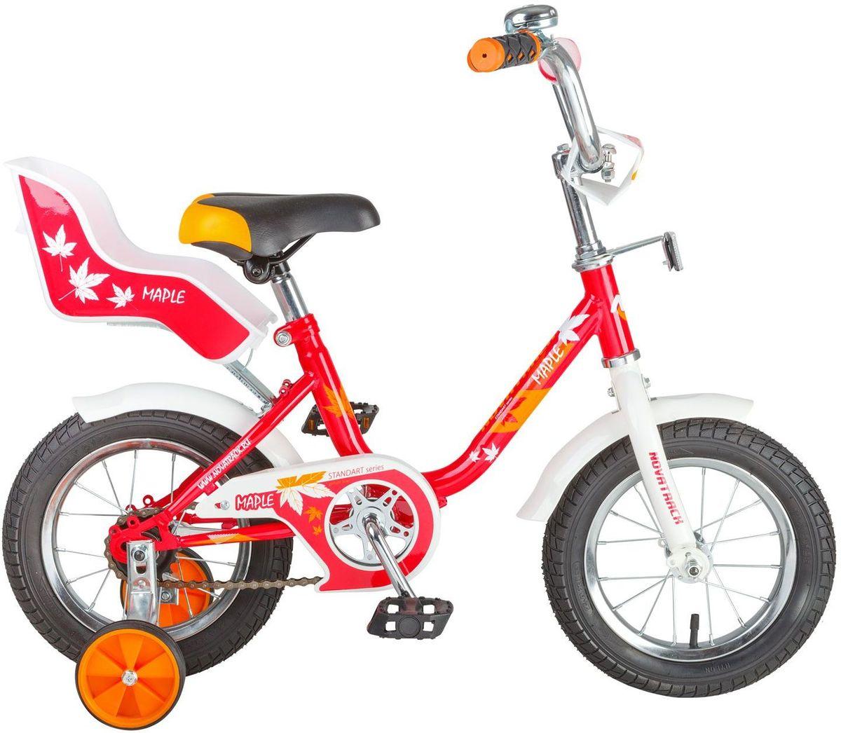 Велосипед детский Novatrack Maple, цвет: красный, 12124MAPLE.RD7Novatrack Maple 12'' – это надежный велосипед для девочек 2-4 лет, на котором очень легко начинать обучение езеде на велосипеде, и который обязательно станет предметом гордости маленькой леди. Регулируемые сидение и руль легко адаптируются под рост ребенка. Маленькие дополнительные колеса снимаются. Отличительная особенность этого велосипеда – это сидение для куклы, ведь как можно не взять с собой подругу на велопрогулку? Велосипед оснащен ножным тормозом, которым ребеноку легко пользоваться, защитой цепи, которая убережет нижнюю часть одежды от попадания в механизм. Велосипед оборудован ограничителем поворота руля, который не позволит вывернуть руль на слишком большой градус, тем самым обезопасит ребенка от опрокидывания.