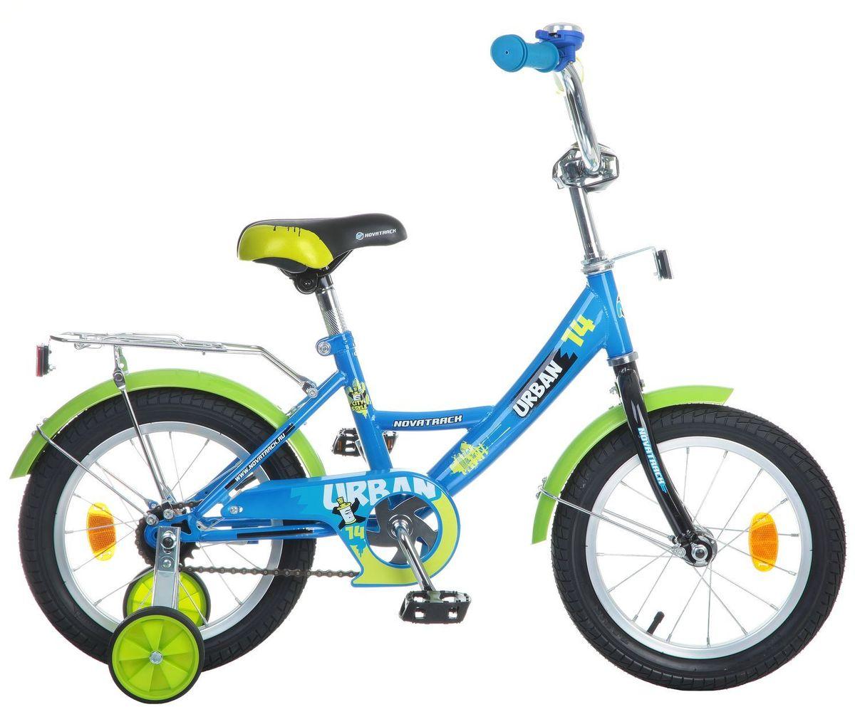 Велосипед детский Novatrack Urban, цвет: синий, 14MHDR2G/AВелосипед Novatrack Urban c 14-дюймовыми колесамиэто надежный велосипед для ребят 3-5 лет. Высокое качество сборки гарантирует, что велосипед прослужит долго, даже если ваш ребенок будет гонять на нем ежедневно по несколько часов подряд. Велосипед оснащен защитой цепи, которая не позволит ногам и одежде попасть в мезанизм. Еще одно средство, способствующее безопасному вождению велосипеда в любых дорожных условияхограничитель поворота руля. который не позволит маленькому велосипедисту слишком сильно повернуть руль и таким образом создать себе все условия для неминуемого падения. Да и учиться ездить с таким приспособлением гораздо удобнее, ведь руль не крутится вокруг своей оси, а значит, и двигаться велосипед будет аккуратно и всегда именно туда, куда нужно. Велосипед оборудован багажникомобязательным атрибутом любого детского велосипеда, ведь как же еще перевозить свои игрушки и другие нужные мелочи во время прогулок Для безопасности установлено целых 4 светоотражателязадний, передний и по одному на каждом из основных колес. Колеса закрыты крыльями, которые защитят маленького наездника от грязи и брызг. А ножной тормоз позволит быстро остановиться, в случае необходимости.