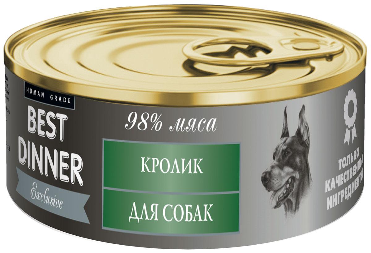 Консервы для собак Best Dinner Эксклюзив, с кроликом, 100 г74031Мясные консервы для собак Best Dinner – идеально сбалансированный, полноценный источник питания, ингредиенты которого оптимально подобраны исходя из нужд Вашего любимца. Корм изготовлен из натуральных компонентов без красителей, консервантов и ароматизаторов. Состав: мясо кролика, масло подсолнечное, желирующая добавка, соль, автолизат пивных дрожжей, вода питьевая. В 100 г содержится: сырой протеин, не менее 10,0 г; сырой жир, не более 10,0 г; сырая зола, не более 2,0 г; поваренная соль 0,3–0,7 г; влага, не более 85 %. Минеральные вещества в 100 г продукта: общий фосфор, не более 0,5 г; кальций, не более 0,3 г. Энергетическая ценность 100 г продукта: 130,0 ккал. Условия хранения: при температуре от 0 до 25 °C и относительной влажности воздуха не более 75 %. Рекомендуется употреблять при комнатной температуре. После вскрытия потребительской упаковки продукт хранить в холодильнике не более 2 суток. Суточная норма: 70–90 г на 1 кг веса животного,...