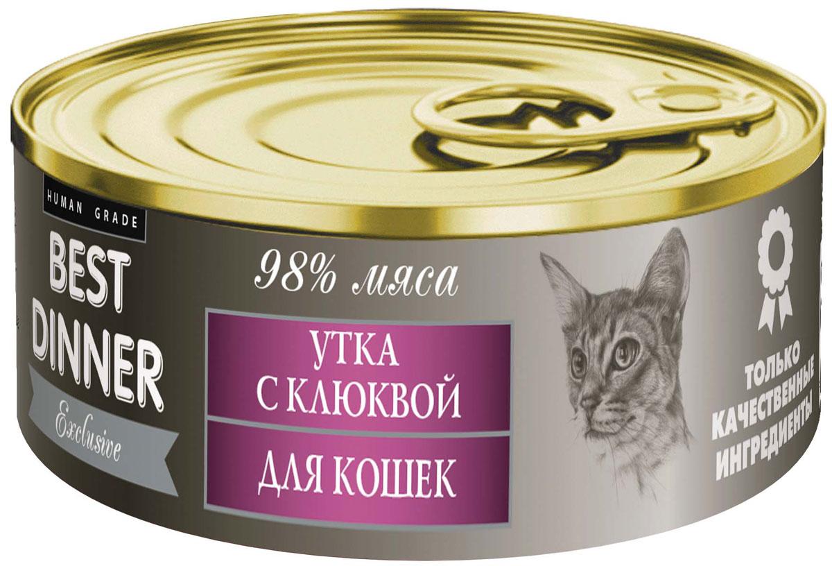 Консервы для кошек Best Dinner Эксклюзив, с уткой и клюквой, 100 г0120710Мясные консервы для кошек Best Dinner – продукты наивысшего качества, обладают изысканным вкусом, сбалансированным составом для правильного питания и здоровой жизни кошки. Изготовлены только из натуральных компонентов без искусственных красителей, консервантов и ароматизаторов.Состав: мясо утки, клюква, масло подсолнечное, желирующая добавка, таурин, соль, автолизат пивных дрожжей, вода питьевая.В 100 г содержится: сырой протеин, не менее 9,0 г; сырой жир, не более 9,5 г; сырая зола, не более 2,0 г; таурин 0,2 г; поваренная соль 0,3–0,7 г; влага, не более 85 %.Минеральные вещества в 100 г продукта: общий фосфор, не более 0,5 г; кальций, не более 0,3 г.Энергетическая ценность 100 г продукта: 121,5 ккал.Условия хранения: при температуре от 0 до 25 °C и относительной влажности воздуха не более 75 %.Рекомендуется употреблять при комнатной температуре.После вскрытия потребительской упаковки продукт хранить в холодильнике не более 2 суток.Суточная норма: 30–50 г на 1 кг веса животного, кормление в два приема.
