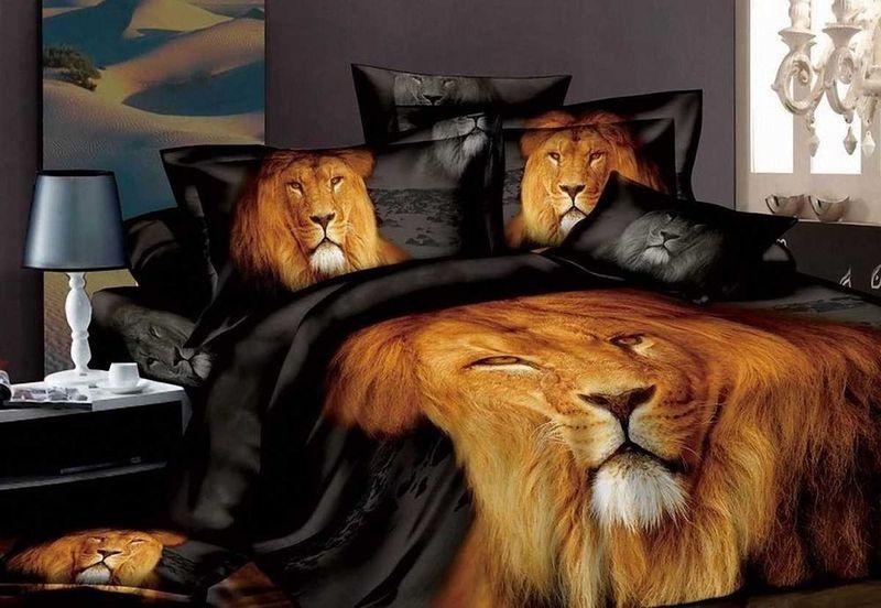 Комплект белья МарТекс Царь зверей, семейный, наволочки 50х70, 70х70. 01-0118-401-0118-4