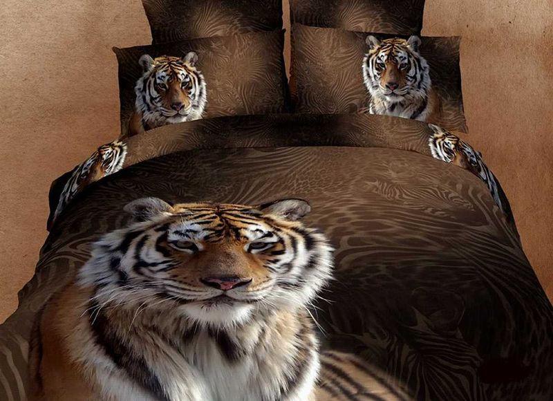 Комплект белья МарТекс Тигры, евро, наволочки 50х70, 70х70. 01-0294-301-0294-3