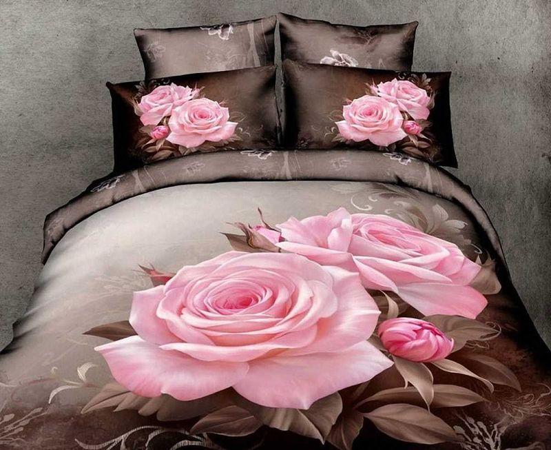 Комплект белья МарТекс Роза, 1,5-спальный, наволочки 50х70. 01-0489-101-0489-1