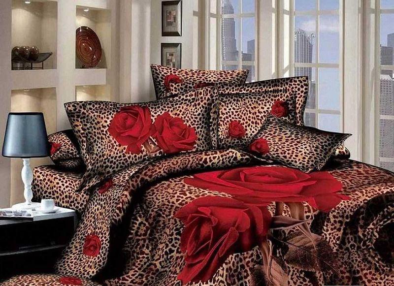 Комплект белья МарТекс Красная роза, 1,5-спальный, наволочки 50х70. 01-0501-101-0501-1