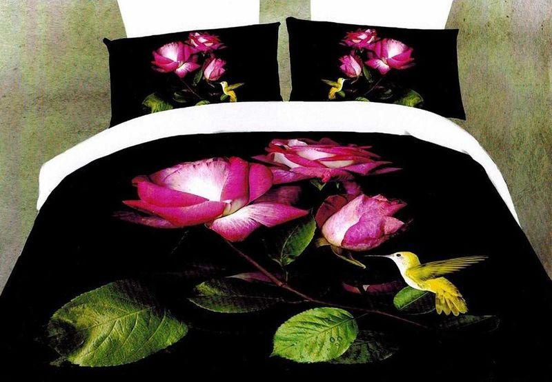 Комплект белья МарТекс Дикая роза, 1,5-спальный, наволочки 70х70. 01-1280-101-1280-1