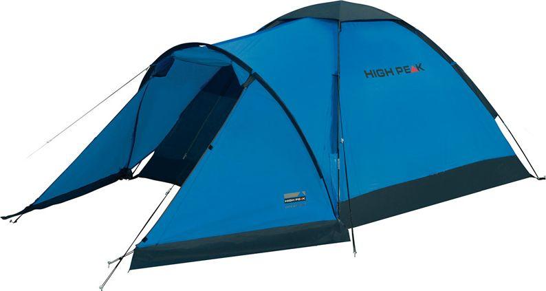 Палатка High Peak Ontario 3, цвет: синий, темно-серый, 305 х 180 х х 120 см. 10171GESS-725Трехместная палатка High Peak Ontario 3 отлично подойдет для летних путешествий. Большой купол для просторной спальни и большой тамбур для снаряжения и обуви. Тамбур по периметру защищен юбкой от ветра, дождя и комаров. Палатка быстро устанавливается на фиберглассовые дуги, продеваемые во внешние рукава на тенте. В верхней части купола расположена вентиляция типа гриб. Материал тента имеет полиуретановое покрытие и водонепроницаемость не менее 1500 мм водяного столба. Швы проклеены. Это защищает от ветра и дождя. Палатка имеет 6 оттяжек, которые позволяют хорошо зафиксировать палатку во время ветра. Вход в палатку защищает тканевый полог, а если погода жаркая, то можно оставить только москитную сетку на входе. Дуги: фибергласс 7,9 мм.Тент: полиэстер 190Т 1500 мм, швы проклеены.Дно: армированный полиэтилен 3000 мм.