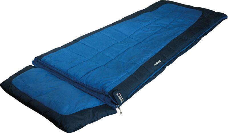 Спальный мешок-одеяло High Peak Camper, цвет: синий, темно-синий, 230 х 90 см, левосторонняя молния. 2124021240Спальный мешок Camper High Peak - универсальный спальный мешок с отстегивающимся подголовником. Вы можете использовать спальник при выездах на природу, а после, отстегнув подголовник, как домашнее одеяло. Спальный мешок Camper High Peak увеличенной ширины: если расстегнуть молнию, то получится одеяло шириной 180 см и длиной 230 см. Внешняя ткань спальника выполнена из шелковистого полиэстера, а внутренняя ткань состоит из хлопка и полиэстера. Вдоль молнии идет защита от закусывания замком молнии ткани спальника. Чтобы холодный воздух не проникал сквозь молнию, ее закрывает тепловой клапан. В верхней части молния фиксируется клапаном на липучке Velcro. На молнии два бегунка, которые позволяют расстегнуть спальник со стороны ног и сделать вентиляционное окно. Спальник утеплен слоем силиконизированного утеплителя Dura Loft, смешанного с холлофайбером в соотношении 70%/30% Верх 2х150 (300) г/м2 + Низ 2х150 (300) г/м2. В комплекте со спальником идет транспортировочный чехол. Внешняя...
