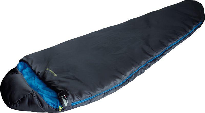 Спальный мешок High Peak Lite Pak 1200, цвет: антрацит, синий, левосторонняя молнияс58836Легкий спальник High Peak Lite Pak 1200 предназначен для летних походов. Спальник имеет полноценный капюшон, защищающий вашу голову в прохладную ночь. В верхней части молния фиксируется клапаном на липучке Velcro. На молнии два бегунка, которые позволяют расстегнуть спальник со стороны ног и сделать вентиляционное окно. Спальник утеплен высокоэффективным полым волокном DuraLoft с силиконовым покрытием волокон. Плотность утеплителя равна 200 г/м2 с обеих сторон спальника. В комплекте со спальником идет транспортировочный чехол. Объем чехла 9,9 л.
