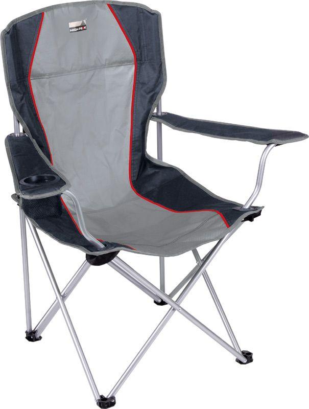 """Кресло складное High Peak """"Campingstuhl Salou"""", цвет: серый, темно-серый, 54 х 43,5 х 41/93 см, 100 кг. 44106"""