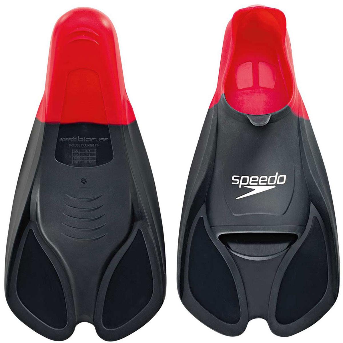 Ласты для плавания Speedo, цвет: красный. Размер 11-12. 8-0884139913B327Ласты Speedo Biofuse Training Fins являются незаменимым аксессуаром для тренировки силы ног, при создании которого использовалась технология SpeedoBiofuse®. Неслучайно эти ласты для плавания предпочитает использовать многократный олимпийский чемпион Майкл Фелпс. Достаточно жесткие лопасти позволяют создать мощную тягу в воде при естественном темпе работы ног. Специальный узор на поверхности подошвы позволяет получить надежное сцепление с поверхностью бассейна. Форма башмака Speedo Biofuse Training Fin способствует развитию гибкости стопы, что позволяет сделать работу ног более эффективной. Башмак изготовлен из мягкого силикона, который не натирает кожу и прекрасно растягивается. Ласты для плавания Speedo Biofuse Tech Fin отлично подходят для тренировки работы ног в спринте, а также для повышения качества работы ног во время обучения плаванию.Специалисты Proswim.ru рекомендуют Speedo Biofuse Training Fin спортсменам-спринтерам, а также всем, кто имеет желание увеличить силу ног. Ласты для плавания станут вашим лучшим помощником на пути совершенствования работы ног.