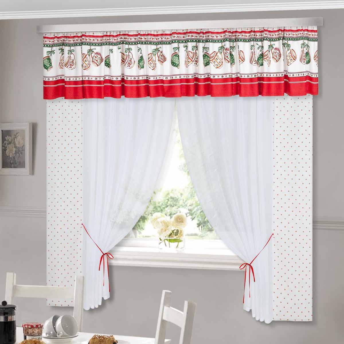 Комплект штор ТД Текстиль Чашки, на ленте, цвет: белый, красный, зеленый, высота 180 см89504Шторы с набивным рисунком.