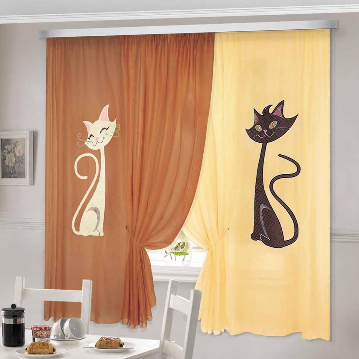 Комплект штор ТД Текстиль Кэти, на ленте, цвет: коричневый, желтый, высота 180 см10503Шторы выполнены из вуалевого полотна с аппликацией в виде кошек. Стирать аккуратно, не более 30-40 градусов. Цвета в ассортименте.