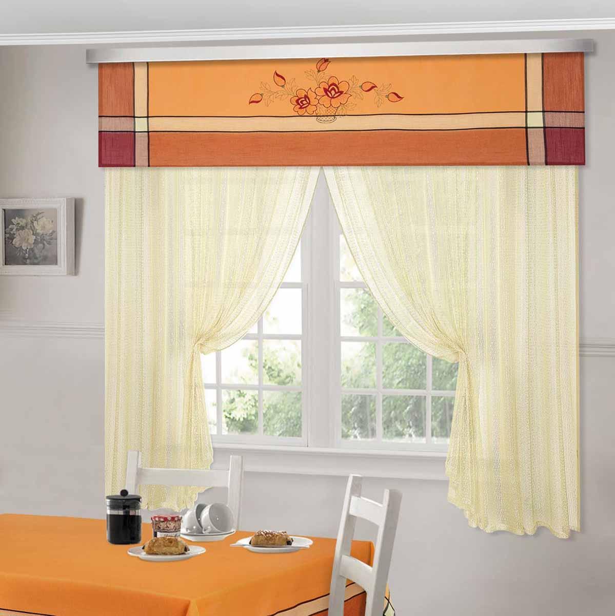 Комплект штор ТД Текстиль Шик, на ленте, цвет: оранжевый, высота 180 см. 9252892528Шторы выполнены из искусственной ткани под лен. Цвета в ассортименте. В наличии присутствуют скатерти из этой же ткани в двух размерах.