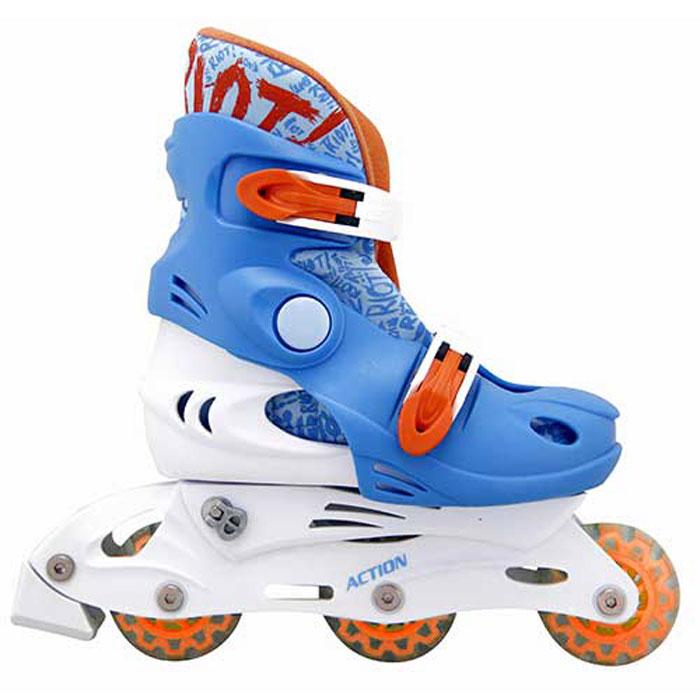 Коньки роликовые Action PW-329, раздвижные, цвет: оранжевый, белый, голубой. Размер: 30/33
