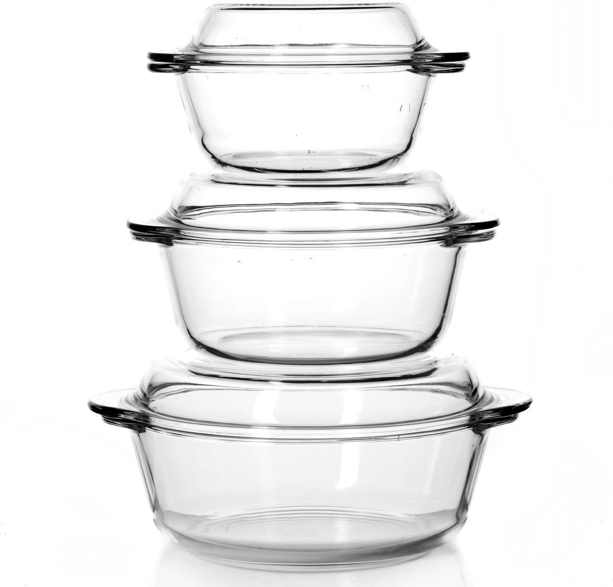 Набор посуды для СВЧ Pasabahce, 6 предметов. 159021159021Набор посуды для СВЧ 3 пр. (кастрюли с крышками 1л+1,5л+2л)