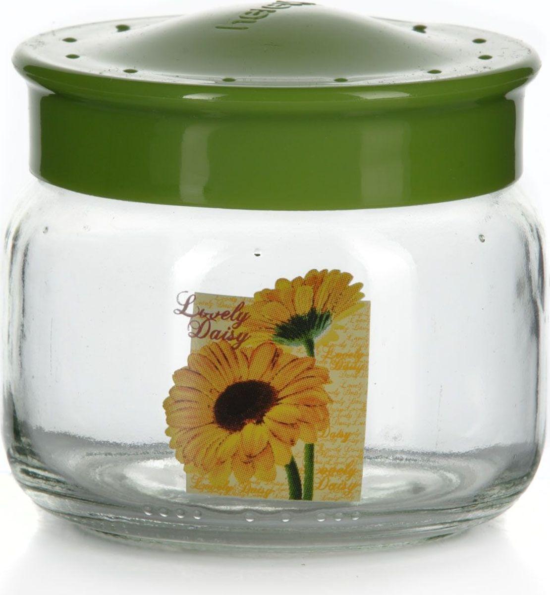 Банка для сыпучих продуктов Pasabahce, 400 мл. 171018-000VT-1520(SR)Емкость прозрачная с рисунком - гербера желтая и салатовой крышкой, V=400 мл, 92*92*90 мм