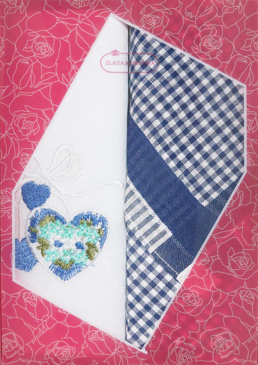 Платок носовой женский Zlata Korunka, цвет: белый, синий, 2 шт. 40222-9. Размер 29 см х 29 смСерьги с подвескамиОригинальный женский носовой платок Zlata Korunka изготовлен из высококачественного натурального хлопка, благодаря чему приятен в использовании, хорошо стирается, не садится и отлично впитывает влагу. Практичный и изящный носовой платок будет незаменим в повседневной жизни любого современного человека. Такой платок послужит стильным аксессуаром и подчеркнет ваше превосходное чувство вкуса.