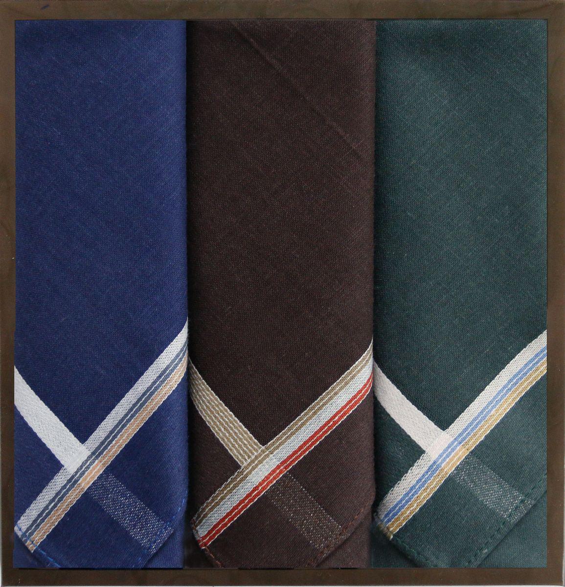 Платок носовой мужской Zlata Korunka, цвет: синий, коричневый, серый, 3 шт. 40315-4. Размер 43 см х 43 см40315-4Мужской носовой платой Zlata Korunka изготовлен из натурального хлопка, приятен в использовании, хорошо стирается, материал не садится и отлично впитывает влагу. Оформлена модель контрастным принтом.