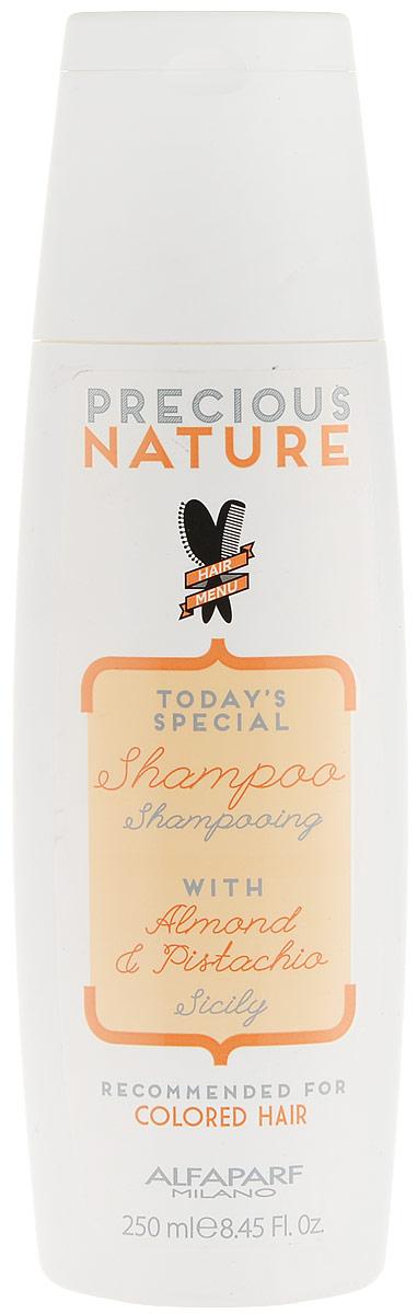 Alfaparf Precious Nature Pure Color Protection Shampoo Шампунь для окрашенных волос, 250 мл12513Мягкий бережно очищающий шампунь сохраняет глубину и насыщенность цвета, поддерживая блеск и качество волос. Уникальная формула, в состав которой входит эссенция фисташки*, известная своими редкими антиоксидантными и фотозащитными свойствами, а также масло сладкого миндаля, продлевает интенсивность цветовых нюансов и блеск, защищает структуру волос. *100% натуральный ингредиент. НЕ СОДЕРЖИТ: сульфатов, парабенов, парафинов, минеральных масел, синтетических веществ, аллергенов *гипоаллергенные экстракты растений и ароматизаторы Объем: 250 мл