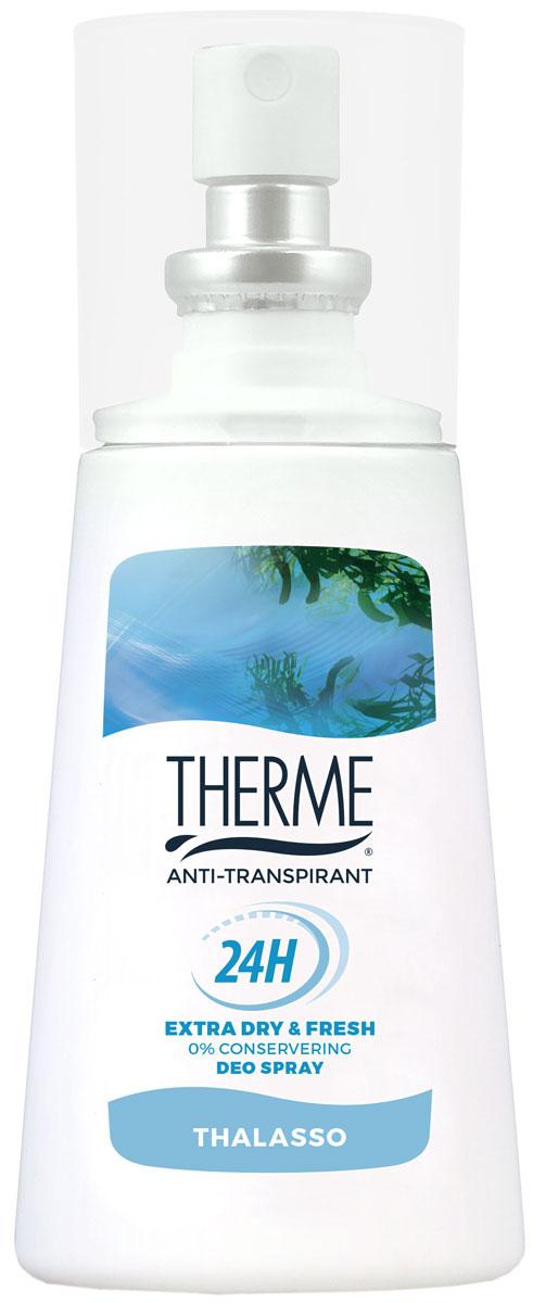 Therme Спрей – антиперспирант Талассо, 75 мл61617Устраняет бактерии, поддерживает натуральный PH баланс кожи, не вызывает раздражения. Содержит морские минералы и соли. Подходит для чувствительной кожи. Не содержит красителей, консервантов,фарнезола, фталатов, парабенов. Содержит спирт.