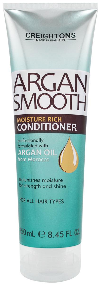 Creightons Кондиционер для глубокого увлажнения волос с аргановым маслом, 250 млCN6701Линия Argan Smooth специально разработана для ежедневного питания и оздоровления волос. Восстанавливает уровень влаги, укрепляет, придает сияние, делает волосы послушными, мягкими и шелковистыми. Питает и защищает волосы от корней до самых кончиков. Подходит для всех типов волос.