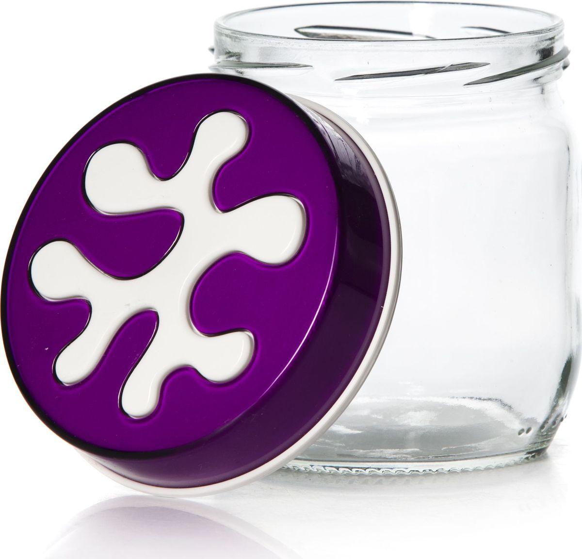 Банка для сыпучих продуктов Pasabahce, 425 мл. 135357-000135357-000Емкость прозрачная с фиолетовой крышкой V= 425 мл, 95*95*105 мм