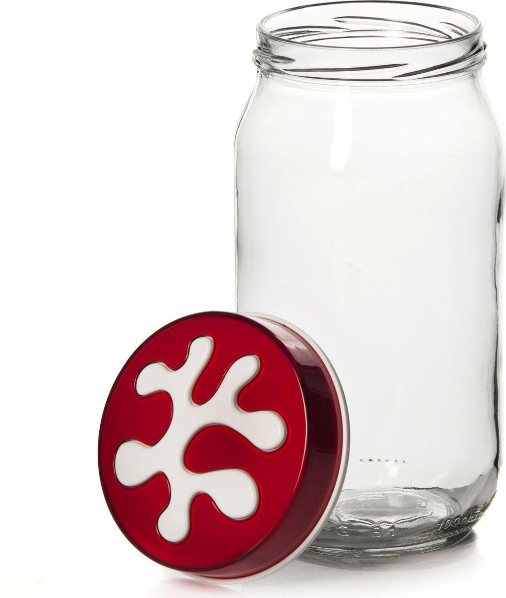Банка для сыпучих продуктов Pasabahce, 1 л. 135377-205135377-205Емкость прозрачная с красной крышкой, V=1000 мл, 90*90*185 мм