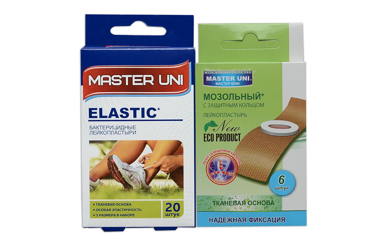 Master Uni Mix Elastic набор лейкопластырей, 20+6шт17009МMix Elastic - состоит из двух видов лейкопластырей - бактерицидного и от сухих мозолей. Набор бактерицидных лейкопластырей на тканевой основе телесного цвета надежно защищающих рану от попадания загрязнений. Эффективен при ссадинах, порезах и мелких повреждениях кожи. Дышащая тканевая основа обладает особой эластичностью, прилегает к коже, повторяет изгибы тела, абсорбирующая подушечка моментально всасывает раневые выделения, имеет дополнительную защиту от грязи и микробов со всех сторон, покрыта бактерицидной атравматической сеткой, которая не прилипает к ране. Антисептик: риванол, эффективно дезинфицирует и способствует быстрому заживлению раны без образования рубцов. Мозольный пластырь - эффективное средство для удаления ороговевшей кожи любой части стопы. Пластырь на тканевой основе надежно фиксируется на ноге и принимает нужную форму при ходьбе. Мягкое защитное кольцо пластыря предохраняет здоровую кожу от контакта с лечебным веществом - салициловой кислотой, которая...