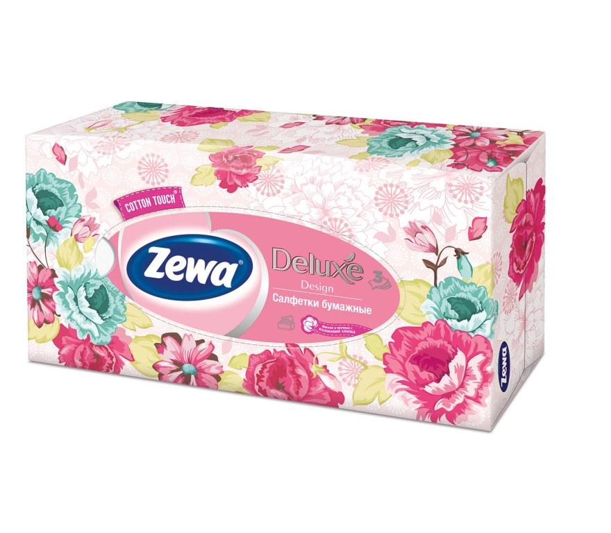 Салфетки бумажные косметические Zewa Deluxe, 90 шт, цвет: розовый28420_розовыйБумажные салфетки Zewa COTTON TOUCH® произведены с добавлением натуральных волокон хлопка и одновременно сочетают в себе мягкость и прочность. Они деликатно и нежно заботятся о Вашей коже и дарят незабываемые ощущения прикосновения хлопка. Бумажные салфетки Zewa в коробочках с ярким дизайном станут незаменимыми помощниками дома или на работе. Они спасут не только во время простуды, но и в повседневных делах, когда нужно вытереть руки или лицо, поправить макияж. Белые 3-х слойные носовые платки без аромата. 5 разных дизайнов коробок. 90 платков в коробке. Состав: целлюлоза, волокно хлопка. Производство: Россия.