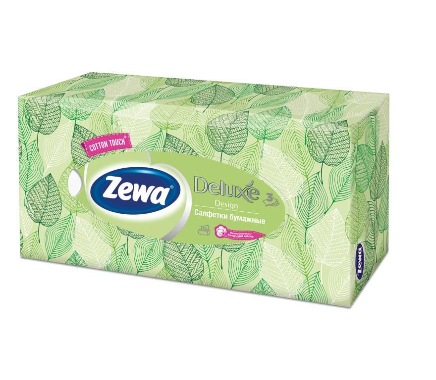 Салфетки бумажные косметические Zewa Deluxe, 90 шт, цвет: зеленый28420_зеленыйБумажные салфетки Zewa COTTON TOUCH® произведены с добавлением натуральных волокон хлопка и одновременно сочетают в себе мягкость и прочность. Они деликатно и нежно заботятся о Вашей коже и дарят незабываемые ощущения прикосновения хлопка. Бумажные салфетки Zewa в коробочках с ярким дизайном станут незаменимыми помощниками дома или на работе. Они спасут не только во время простуды, но и в повседневных делах, когда нужно вытереть руки или лицо, поправить макияж. Белые 3-х слойные носовые платки без аромата. 5 разных дизайнов коробок. 90 платков в коробке. Состав: целлюлоза, волокна хлопка. Производство: Россия.