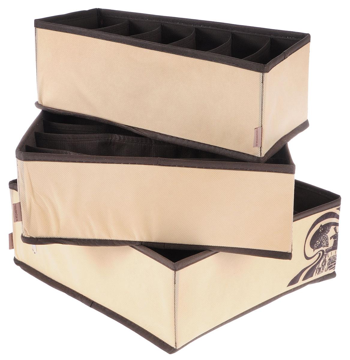 Набор органайзеров для белья Все на местах Париж, цвет: коричневый, бежевый, 3 предмета1001001Набор состоит из трех органайзеров для хранения косметики и аксессуаров, а также белья. Изделия выполнены из высококачественного нетканого материала (спанбонда), который обеспечивает естественную вентиляцию, позволяя воздуху проникать внутрь, но не пропускает пыль. Вставки из ПВХ хорошо держат форму. Набор органайзеров для косметики и аксессуаров поможет привести элементы женского туалета или белья в порядок. Оригинальный дизайн придется по вкусу ценительницам эстетичного хранения. Размер органайзеров: 32 см х 32 см х 11 см; 32 см х 32 см х 11 см, 32 см х 16 см х 11 см.
