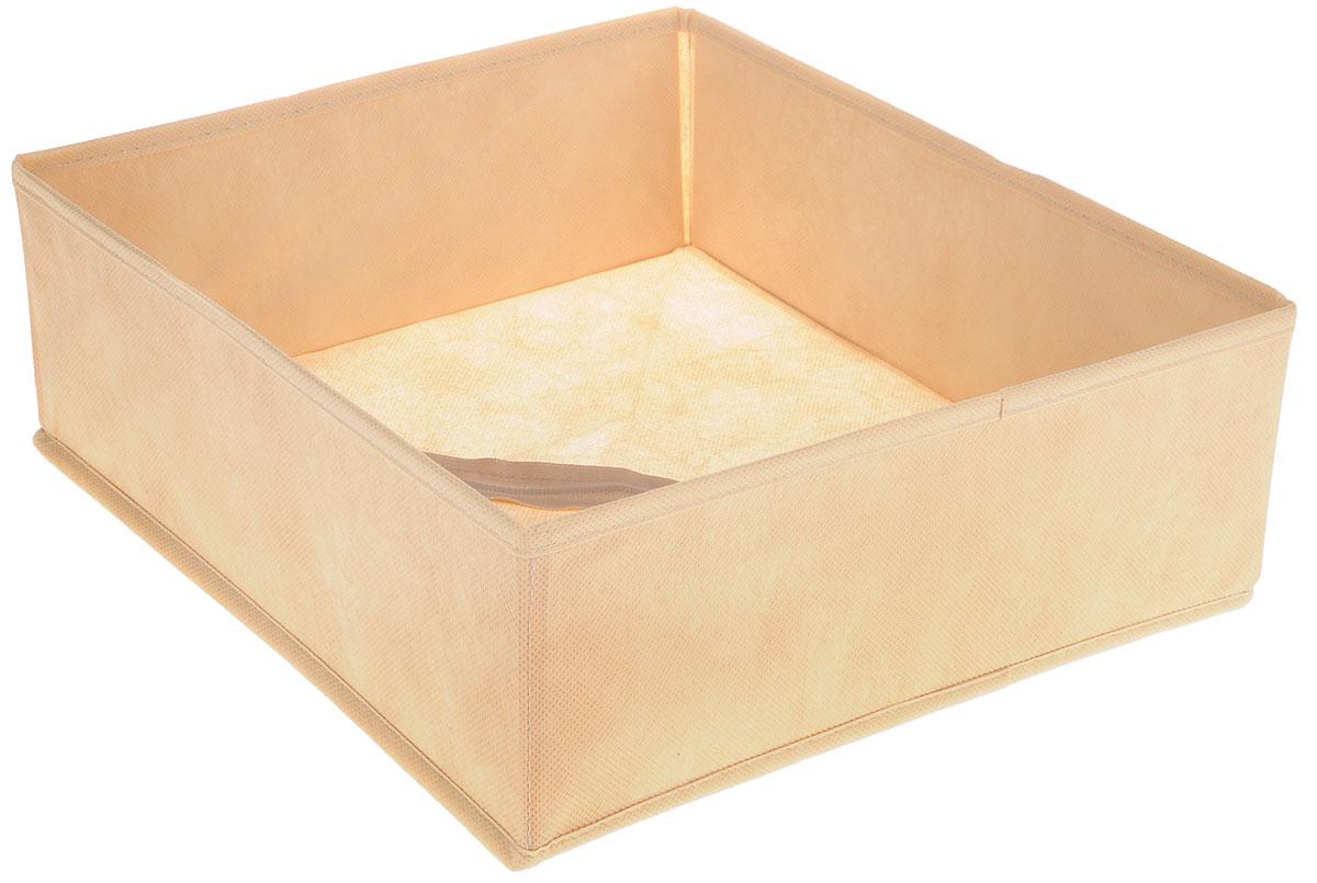 Органайзер Все на местах Minimalistic, цвет: бежевый, 32 х 32 х 11 смUP210DFОрганайзер поможет удобно хранить вещи. Изделие выполнено из высококачественного нетканого материала, который обеспечивает естественную вентиляцию, позволяя воздуху проникать внутрь, но не пропускает пыль. Вставки из ПВХ хорошо держат форму. Изделие содержит одну большую секцию. Органайзер легко раскладывается и складывается. Оригинальный дизайн придется по вкусу ценителям эстетичного хранения. Размер органайзера в разложенном виде: 32 х 32 х 11 см.