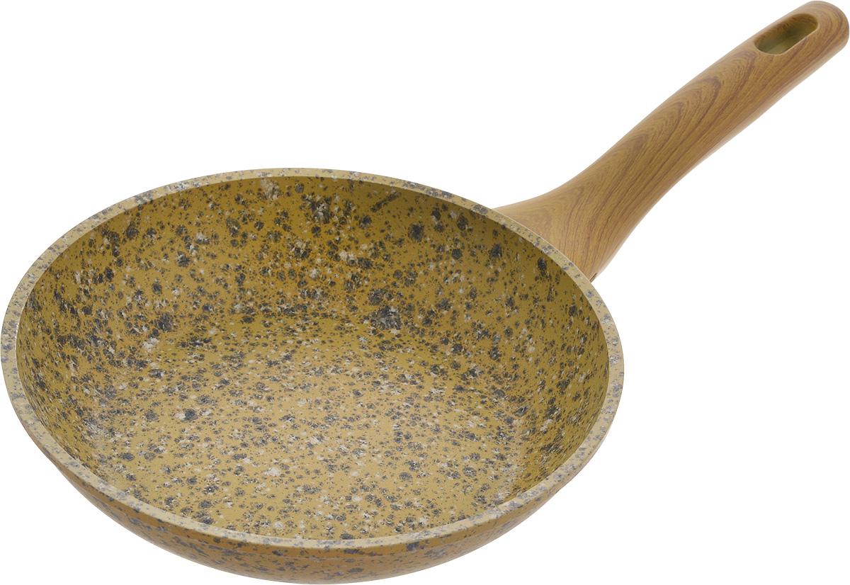 Сковорода Fissman Imperial Gold, с антипригарным покрытием. Диаметр 20 смAL-4358.20Сковорода Fissman Imperial Gold изготовлена из алюминия с многослойным антипригарным покрытием EcoStone, состоящего из нескольких слоев натуральной каменной крошки на основе минеральных компонентов. Такое покрытие долговечно и безопасно для здоровья и окружающей среды, оно обладает великолепными антипригарными свойствами. Сковорода оснащена удобной бакелитовой ручкой, которая не нагревается в процессе приготовления пищи и не скользит в мокрых руках. Сковорода Fissman Imperial Gold создана, чтобы удовлетворить потребности самых взыскательных кулинаров и профессиональных шеф-поваров. Подходит для использования на газовых, электрических и стеклокерамических плитах, а также на индукционных. Можно мыть в посудомоечной машине. Высота стенки: 4,5 см. Длина ручки: 17,5 см.