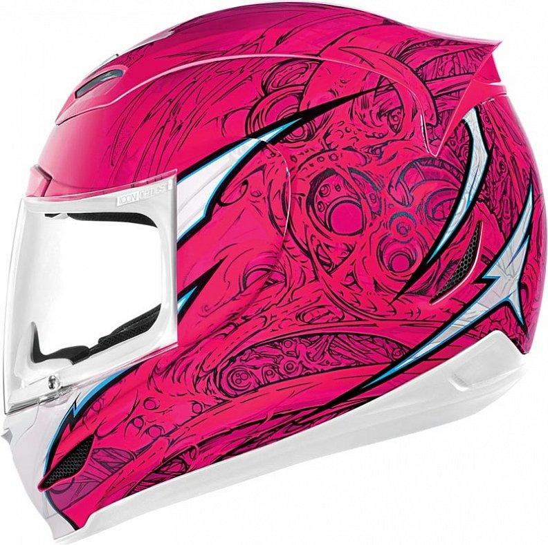 Мотошлем Icon Airmada Sportbike SB1, цвет: розовый. 0101. Размер L0101-6068Отличное сочетание функциональности и стиля. Этот шлем прекрасно подойдет как для городской езды, так и для спортивных заездов на треке. За основу взят литойполикарбонатный корпус. С точки зрения аэродинамики, посадки, вентиляции и комфорта – это совершенно новая модель шлема. Вентиляция так же была улучшена. Теперь у нас 7 каналов для впуска свежего воздуха, и 6 портов для выпуска. Как и в предыдущих моделях, мы имеем каналы в ротовой области, а так же два боковых порта, которые регулируются в нескольких положениях с внутренней стороны шлема. Выше имеется десятимиллиметровый двойной канал, который, как и прежде удобно контролировать – в закрытом или открытом положении. И одна из новинок находится поблизости – двойной регулировочный порт, который в дополнение ко всем предыдущим, направляет потоки свежего непосредственно на лобную часть водителя. Соответственно, горячий воздух выходит через задние порты - два сверху, два по бокам и два с нижней стороны. Еще одним нововведением является...